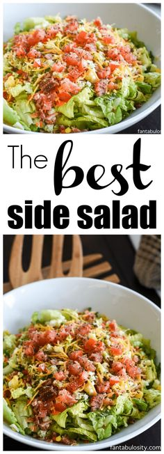 The BEST Side Salad Recipe: A requested side dish at every family gathering. It's not your ordinary run of the mill side salad. There's a SECRET! The BEST Side Salad, of ALL Salad Recipes. with a SECRET! So Easy! Jan Harrell Recipes T Side Salad Recipes, Healthy Salad Recipes, Side Dish Recipes, Healthy Meals, Easy Recipes, Dinner Salad Recipes, Easy Green Salad Recipes, Best Side Dishes, Side Dish Salad