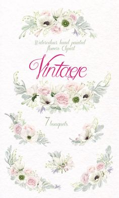 High quality Flower Watercolor Clipart, Hand Painted Clip Art, Vintage Bouquets of Anemones & Roses, White and Pink Flowers - Collection in pastel tones  Use them for decoration of wedding invitations, greeting cards, photos, albums and many other DIY projects.   All images are 300dpi, coloured and ready to use.  ___________________________   This listing includes:  7 PNG files - (300 dpi, RGB, transparent background) Bouquets wide size aprox: 12 - 4,5 inch   Please note: the paper textu...