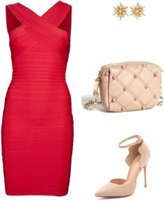 sexy valentines day outfit - Valentines Day Outfits. Clothes. Red. Shoes, dress, bag.