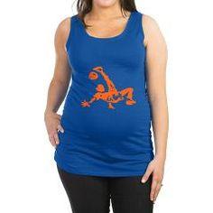 Dames hemd (zwangerschap) met oranje voetballer. Beschikbaar in diverse maten, kleuren T-shirts en soorten prints.