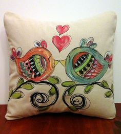Decorative Pillow Cover Hand-painted Whimsical by SippingIcedTea