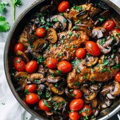 Drunken Chicken Marsala with Tomatoes.