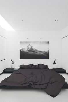 Very dark grey bedding adds a bit of mood to this all white bedroom.  #thegoodsheet #grey