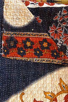 Handmade Vintage One-of-a-Kind Kanthina Sari Quilt