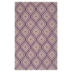 New Zealand wool rug with a geometric design in plum and orange. Hand-tufted in India.  Product: RugConstruction Material...