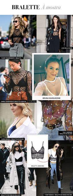 Layla Monteiro como usar bralette. Bralette com blusa de renda, com blusa de poá Bruna Marquezine, com blusa transparente Bella Hadid, por cima da blusa Kendall Jenner. Tendência 2017.
