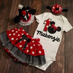 Adorable for your little girls Minnie Mouse themed first birthday!    Onesie is appliqued. Please leave the name you would like on it in the notes