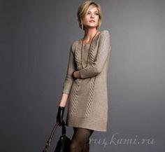 Платье спицами бежево- серого цвета описание и схемы вязания
