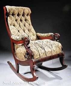 An American Carved Mahogany Rocker , c. Wooden Sofa Designs, Sofa Sale, Rocking Chairs, Neoclassical, First World, 19th Century, Auction, Carving, American