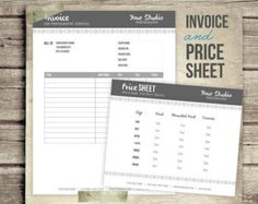 Popular items for photography invoice