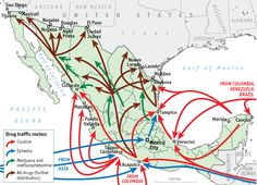 Drug traffic routes in Mexico