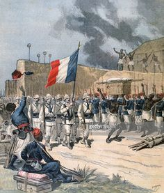 Entry of the French army into Abomey, Dahomey, Africa, Military Art, Military History, Military Uniforms, Boxer Rebellion, Belle France, Paris 3, French Foreign Legion, French Colonial, French Empire