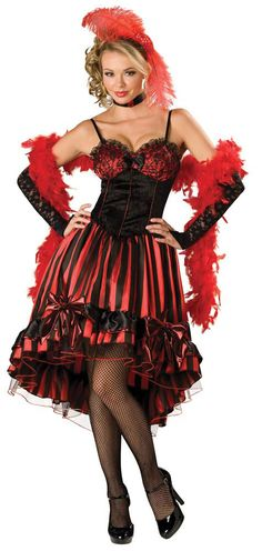 @Alison Bragdon  Was I right or what?! I said red and black with a petticoat and a feather in your hair! Tell Mom you can be a saloon whore for prom now!