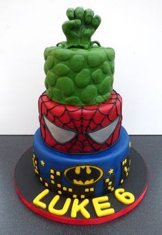 Marvel Super Heroes Cake Batman Spiderman Incredible Hulk