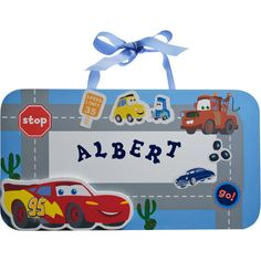 Disney Cars - Junior Junction Wall Sign, with stick-on alphabet letters.  Gotta have 2!