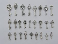 The Ultimate Key Charms Collection - 26 different antique silver tone charms on Etsy, $6.50