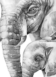 Gray Tone 11x14 inch Elephant Mom and Baby by PinkPoppyWatercolors, $29.00