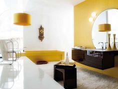 Modern Bathroom Colors for Stylishly Bright Bathroom Design - nice Modern Bathroom Colours, Yellow Bathroom Decor, Modern Bathroom Design, Bathroom Interior, Bathroom Vanity Designs, Trending Decor, Contemporary Bathroom Designs, Bathroom Design Small, Italian Bathroom Design