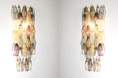 Grande paire d'appliques polyèdres moderne en verre de Murano Murano Glass, Wall Lights, Ceiling Lights, Mid Century Design, Wall Sconces, Chandelier, Lighting, Appliques, Home Decor