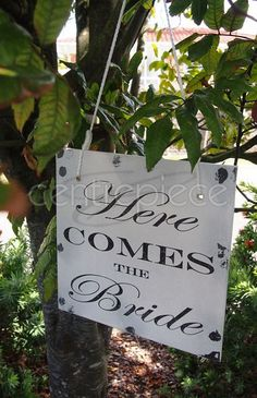 Here Comes The Bride - Sign Hanging Shabby Chic Reversible Wedding Signage, Hanging Signs, Here Comes The Bride, Centerpieces, Shabby Chic, Reusable Tote Bags, Decor, Chic, Decoration