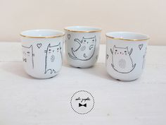 1 Cup gold trim Cat by Sobigraphie on Etsy, €20.00
