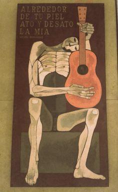 """""""Alrededor de tu piel, ato y desato la mía"""" - Miguel Hernández #guitarra #cuadros #MiguelHernandez #frases  #musica"""