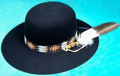 I tired one of these on today. This is the hat for me. Mens Felt Hat, Bohemian Style Men, Beaded Hat Bands, Hey Joe, Flat Brim Hat, Native American Girls, Ribbon Shirt, All Black Everything, Jimi Hendrix