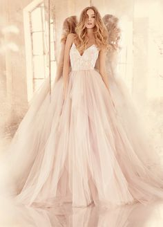 Style 6560 Nicoletta Hayley Paige bridal gown - Alabaster tulle bridal ball gown with floral beaded ballet bodice, V-neckline and spaghetti straps with crisscross at back, full tiered tulle skirt. Also available in Ivory. Pretty Dresses, Beautiful Dresses, Bridal Gowns, Wedding Gowns, Tulle Wedding Dresses, Light Pink Wedding Dress, Blush Bridal, Romantic Wedding Dresses, Colored Wedding Dress