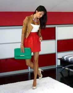 -cute tan leather jacket, white shirt, red high waisted skirt, green clutch, white heels fall/spring/summer outfit-