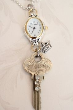 Items similar to Watch Pendant Necklace with Blinged Key and Crown on Etsy - Diy Jewelry Vintage Key Jewelry, Jewelry Art, Beaded Jewelry, Jewelry Design, Jewelry Making, Bullet Jewelry, Gothic Jewelry, Jewelry Holder, Jewellery Box