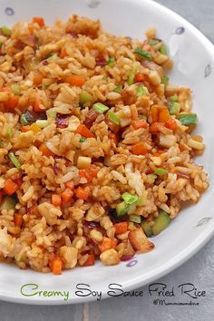 Click on pin to Learn More Healthy Guides & Recipes, Creamy Soy Sauce Fried Rice | Creamy & dairy free! Low fat, vegetarian with vegan option. #Chinesehttp://pinterest.com/pin/242912973627196012/