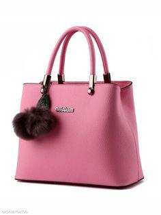 Candy Color Fur Ball Basic Shoulder Bag Satchel Backpack ef2791e035dd7