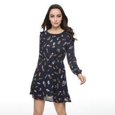 Feather print chiffon mini A line dress  #dress #loveit #friends #style #lookbook #ootd #fabolous #people #fashionday #fun