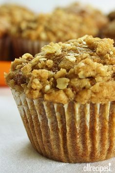 """Pumpkin Muffins with Streusel Topping   """"This is a moist and hearty breakfast muffin made with fresh pumpkin, oatmeal, and brown sugar."""""""