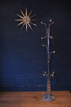 Italian Mid Century Chrome Coat Stand upon a Marble Base and