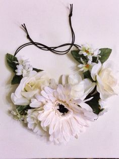 Mixed white flower tie headband