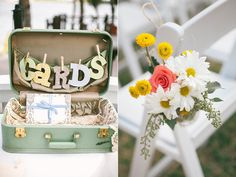 Vintage travel case for cards | Paradise Cove Florida Wedding | Handmade weddings | ruffledblog.com