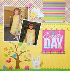 Springtime Collection by Doodlebug Design. Easter Layout by Chrisitne Meyer