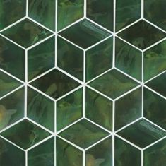 Add a bold and sleek look to your décor with medium diamond shaped tiles! In an earthy Vermont Pine, these tiles can be arranged in a variety of patterns. Terrazzo, Cubes, Green Mosaic Tiles, Unique Tile, Tiles Texture, Tile Patterns, Chevron Patterns, Green Kitchen, Color Tile