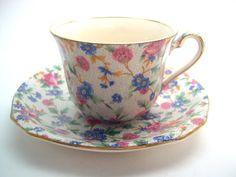 Antique Royal Winton Chintz Open, Royal Winton Old Cottage Chintz tea cup set, Royal Winton Grimwades Chintz