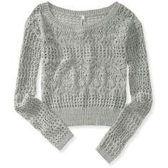 Aeropostale Sheer Cropped Sweater ($14) found on Polyvore