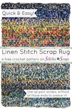 Use up all your yarn scraps in this Linen Stitch Scrap Rug! It's thick soft and squishy and designed to use up lots of yarn very quickly without weaving in a lot of ends. Get the free pattern on Stitches n Scraps. Crochet Rug Patterns, Crochet Designs, Crochet Stitches, Crochet Rugs, Linen Stitch Crochet, Crochet Home, Easy Crochet, Crochet Ideas, Rag Rug Diy