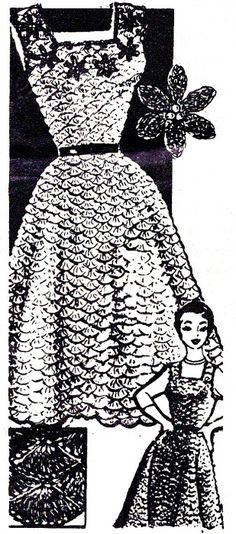Vintage Crochet PATTERN Evening Dress Jumper Shell Stitch