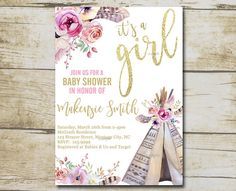 Boho Floral Teepe Baby Shower Editable Invitation - YOU EDIT ♥♥MATCHING ITEMS FOR THIS DESIGN - click on link below♥♥ https://www.etsy.com/shop/BabyShowerShoppe?ref=l2-shopheader-name&search_query=P49 This listing is for an instant download PDF template that you edit yourself.