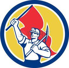 coal miner: Ilustración de un minero de carbón con casco celebración hacha en el hombro y la bandera dentro del círculo en el fondo aislado hecho en estilo retro. Vectores