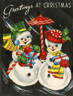 Vintage Christmas Card - My Mom had this image on some package tags....