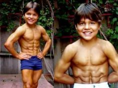 Young Bodybuilder Richard Sandrak at the age of 10. At the age of ten, he could lift twice his weight and was known as the Little Hercules.