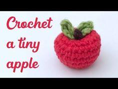 Crochet Apple – Free Mini Amigurumi Pattern – Stella's Yarn Universe – Amigurumi Free Pattern İdeas. Crochet Apple, Crochet Fruit, Crochet Leaves, Crochet Food, Crochet Dolls, Crochet Flowers, Free Crochet, Crochet Cake, Crochet Pig
