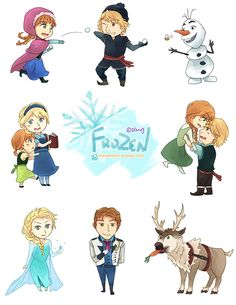 My favorite Disney movie now. Frozen easily moved to first place right after I finished watching it in theaters. These are printed on sticker sheets. Kid Movies, Disney Movies, Elsa Frozen, Disney Frozen, Frozen Characters, Fictional Characters, Chibi Disney, Now And Then Movie, Little Babies