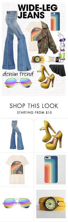 """""""Pink Floyd + Wide Legs"""" by callmejupiter ❤ liked on Polyvore featuring Roberto Cavalli, Valentino, MadeWorn, ZeroUV, AGA, denimtrend and widelegjeans"""